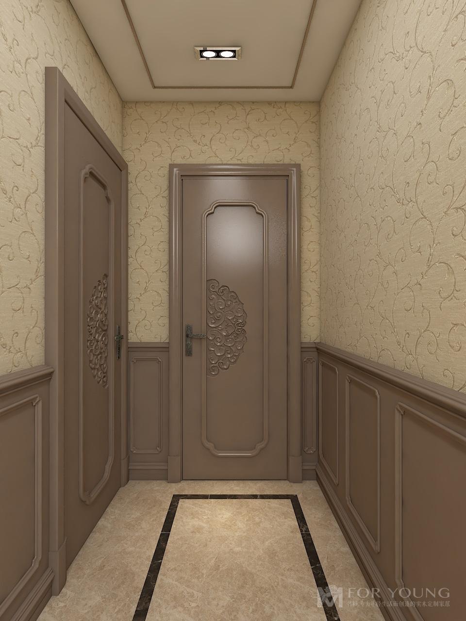 过道是连通各个空间的纽带,天花装饰线条与地砖的装饰线条对等